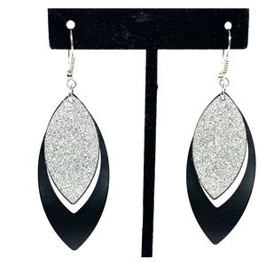 Black and silver teardrop earrings